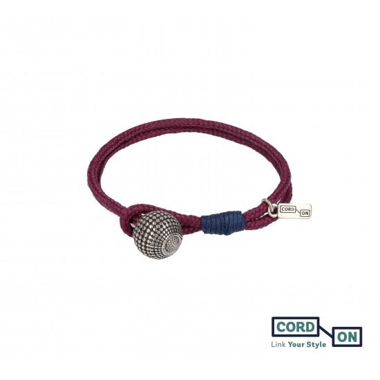 Pulsera con cordón náutico y charm de bola rojo granate Ciruela Globe