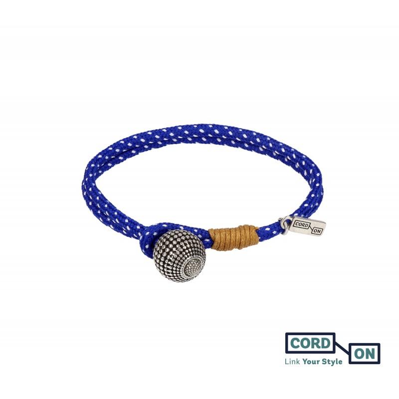 Pulsera con cordón náutico y charm de bola azul blanco Mood Globe