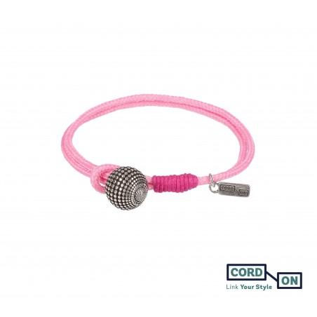 Pulsera con cordón náutico y charm de bola Rosa Globe
