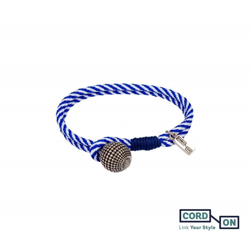 Pulsera con cordón náutico y charm de bola azul blanco Style Globe