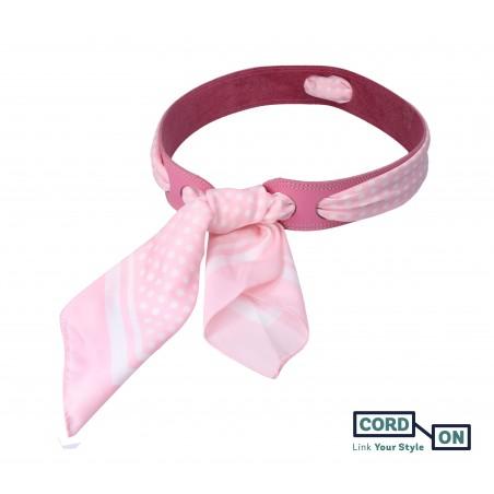 Cinturón piel pañuelo lunares rosa blanco Lola