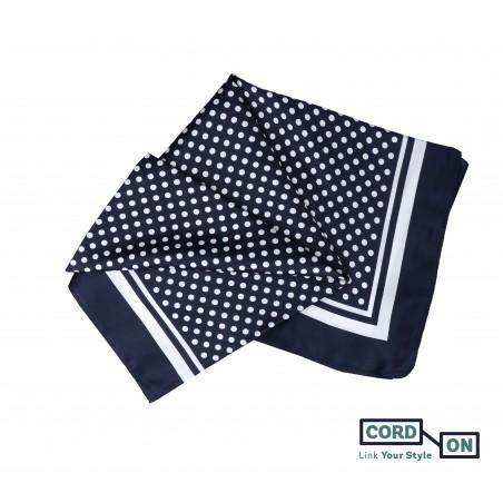 Pañuelo foulard lunares  azul marino blanco Lola