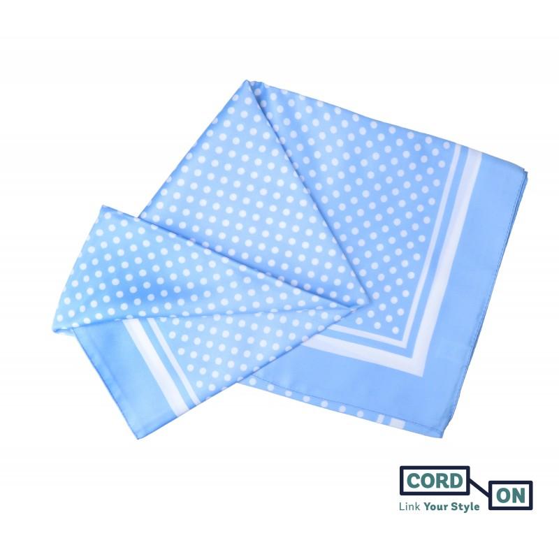 Pañuelo foulard lunares  azul celeste blanco Lola