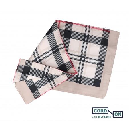 Pañuelo foulard cuadro escocés beige negro rojo Chloe