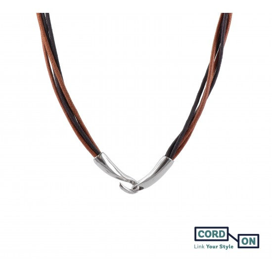 Collar cordones encerados cierre gancho marrón ocre Urban Diva