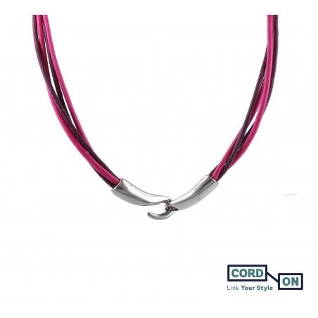 Collar cordones encerados cierre gancho rosa flamingo violeta toscana Urban Diva