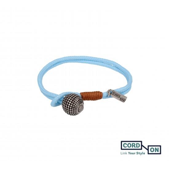Pulsera cordón náutico charm bola azul celeste azulina Globe