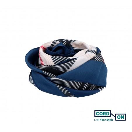 Pañuelo foulard cuadros azul marino beige negro rojo Chloe