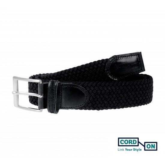 Cinturón trenzado elástico negro Sanremo