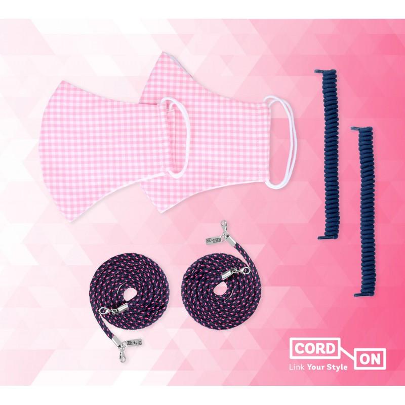 Set mascarilla madre hija rosa blanco Mimitos