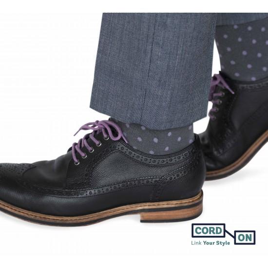 Cordón lustrado redondo calzado lila morado Amoratado