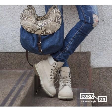 Cordón lustrado redondo calzado Crema