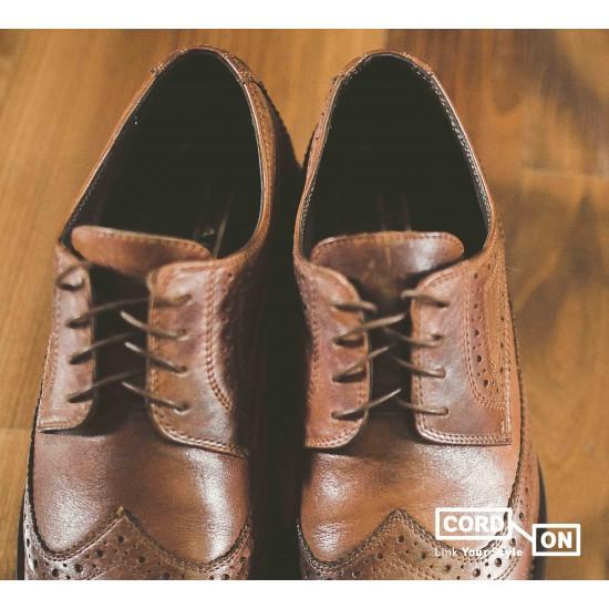 Cordón lustrado redondo calzado marrón Camello