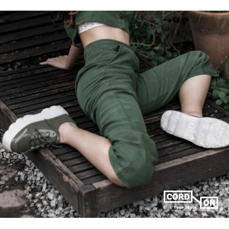 Cordón lustrado redondo calzado verde Alga