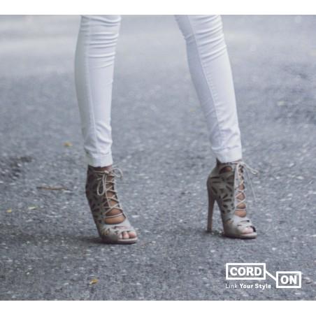 Cordón lustrado redondo calzado gris Cloud