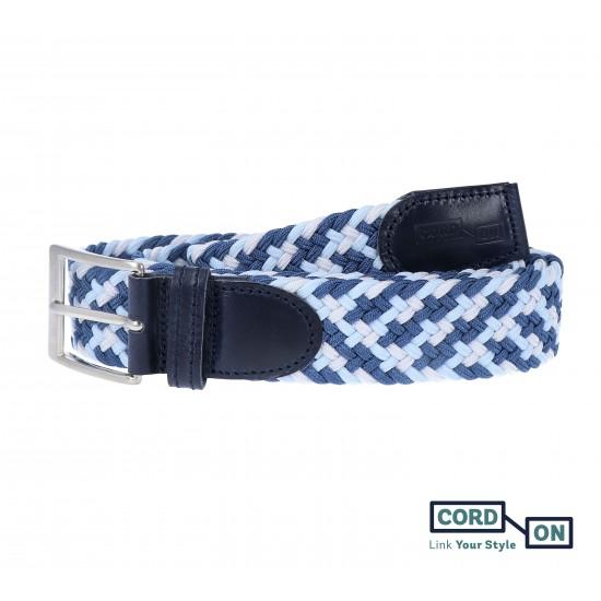 cinturon trenzado elastico combinado azul sanremo