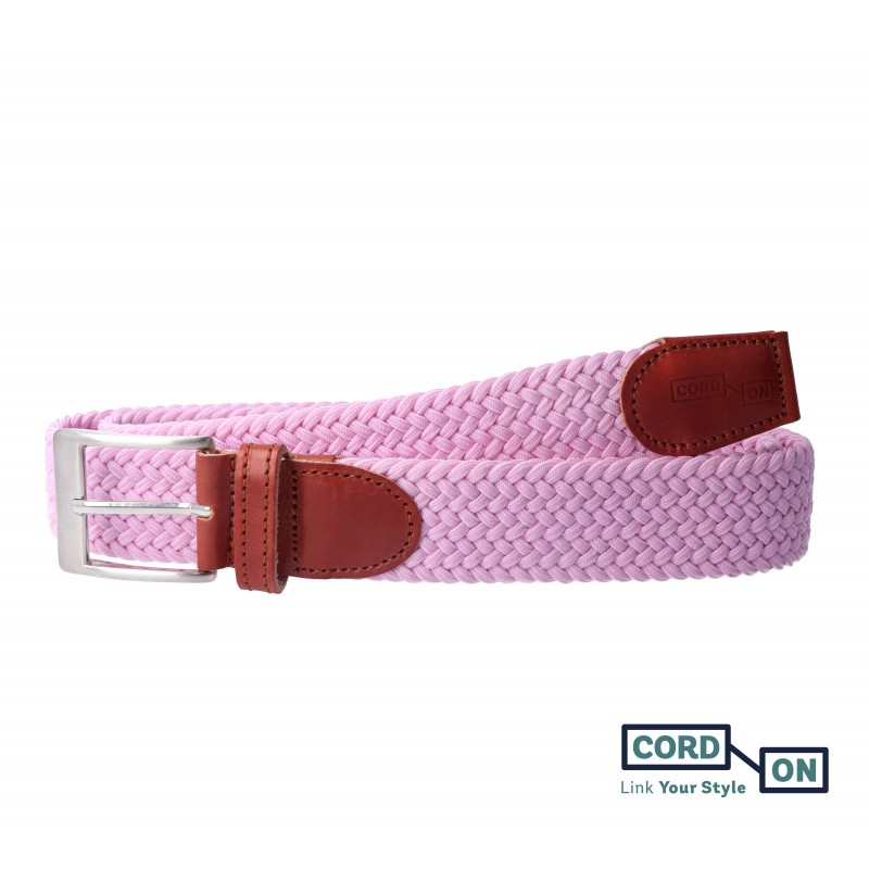 cinturón trenzado elástico rosa sanremo