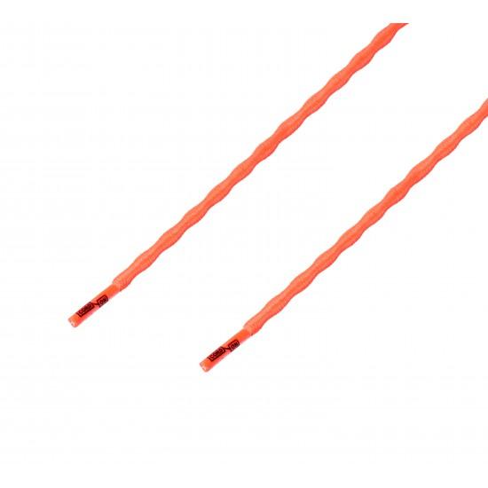 Cordón sport ergonómico elástico plano Naranja Flúor