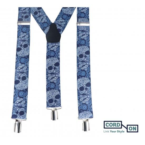 Tirantes elásticos calaveras paisley azul tijuana