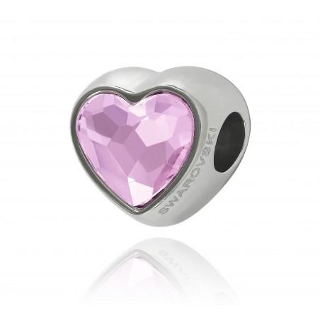 corazón cristal swarovski rosa