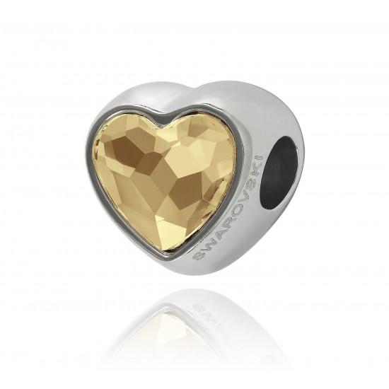 corazón dorado cristal swarovski