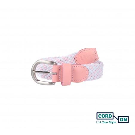 Cinturón infantil elástico trenzado rosa blanco Sanremo