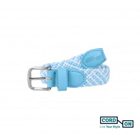 Cinturón infantil elástico trenzado azul celeste blanco Sanremo