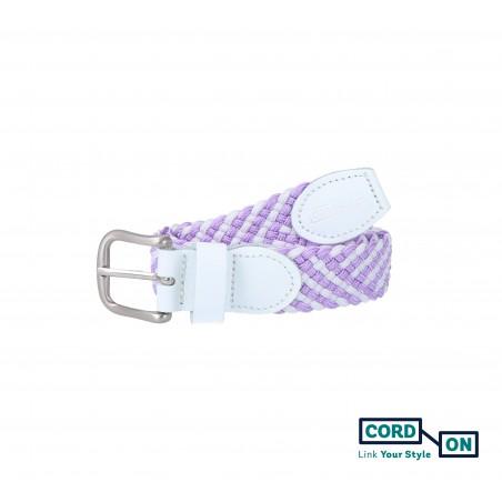 Cinturón infantil elástico trenzado lila violeta blanco Sanremo