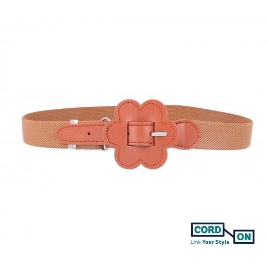 Cinturón elástico hebilla infantil marrón avellana Daisy