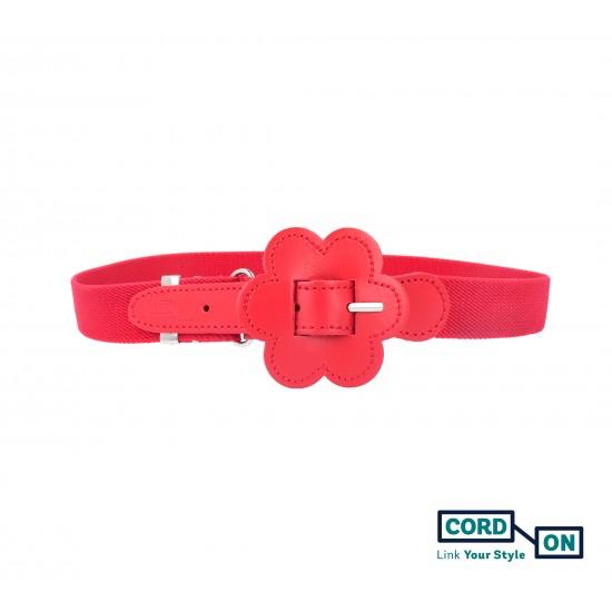 Cinturón elástico hebilla infantil rojo Daisy