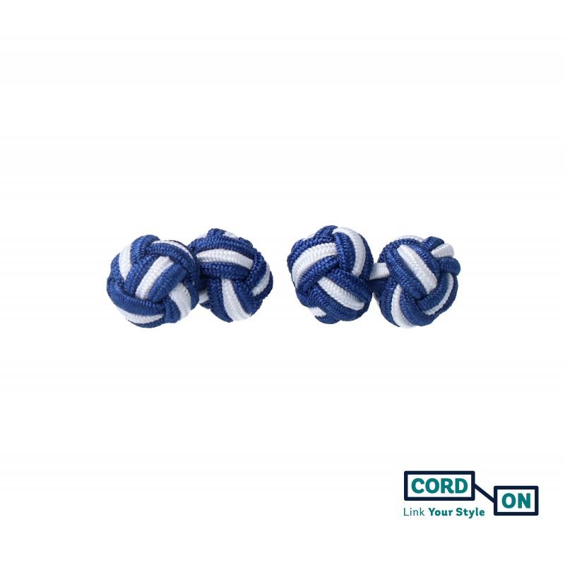 Gemelos bola nudo azul marino blanco Skyfall