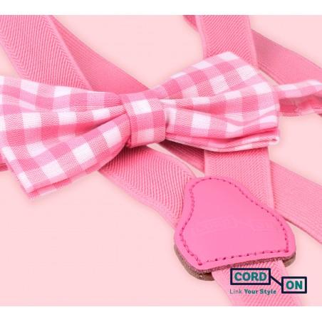 Tirantes pajarita infantil rosa set Vichic