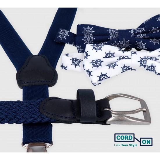 Tirantes pajarita cinturón azul marino blanco set Twin Sailor