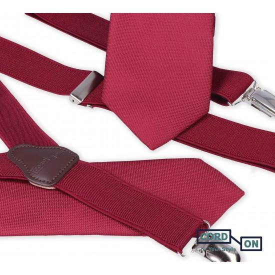 Set padre hijo tirantes corbatas rojo burdeos Dressy Oxford